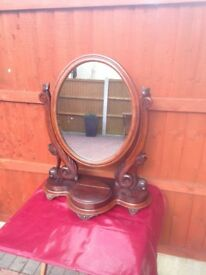 Antique Wood Dressing Table Standing Mirror