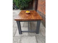 Large rustic studio industrial reclaimed desk/dining table. Distressed charcoal. LOCAL DELIVERY.