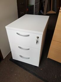 New lockable 3 drawer Office desk pedestals in a White effect with Key