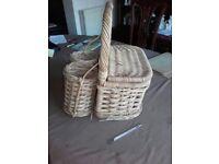 Vintage wicker hamper basket