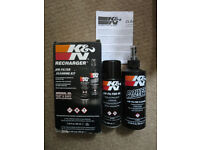 K and N recharger motorcycle air filter cleaner and aerosol oil kit - more than 90% full
