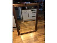 Large brown natural look wood frame mirror 103cm x 74cm