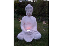 Large Meditating Buddha, Young Buddha Candle Holder and Aztec Sculpture