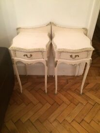 Twin side tables & chest of draws vineyard distressed