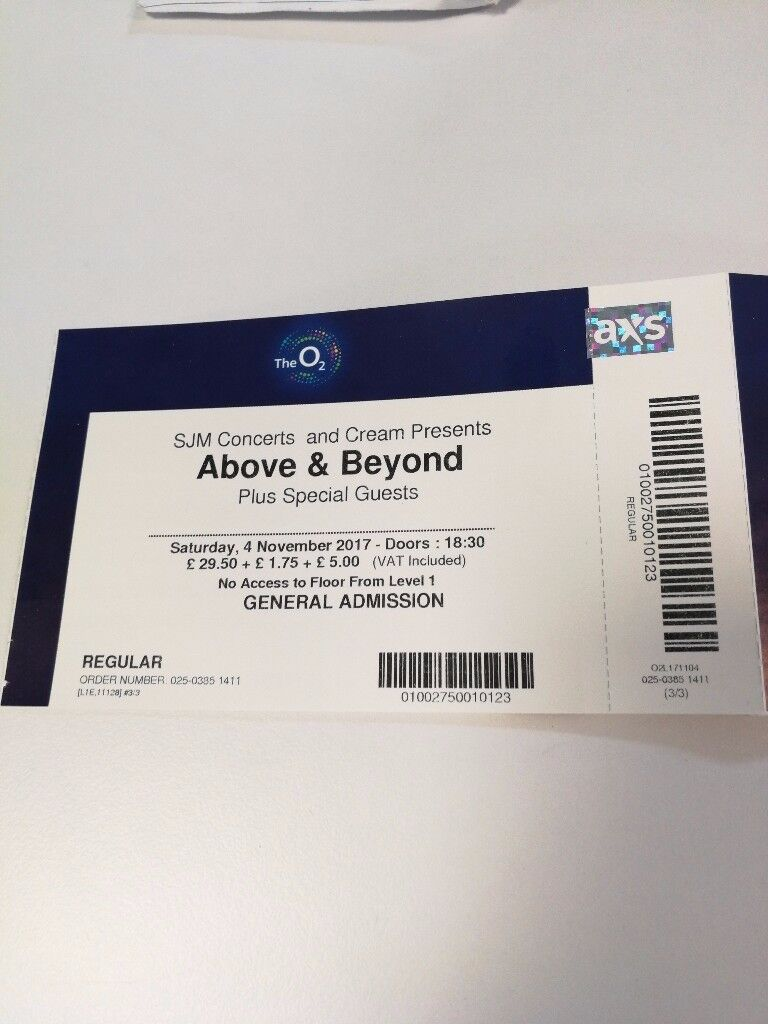 3 tickets for Above and Beyond performance, 4th November at o2 arena London