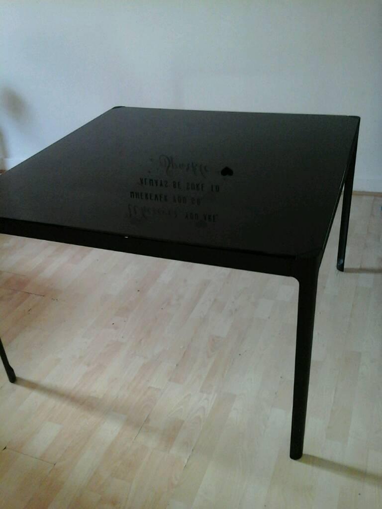 Ikea Norrsten Black Glass Top Table
