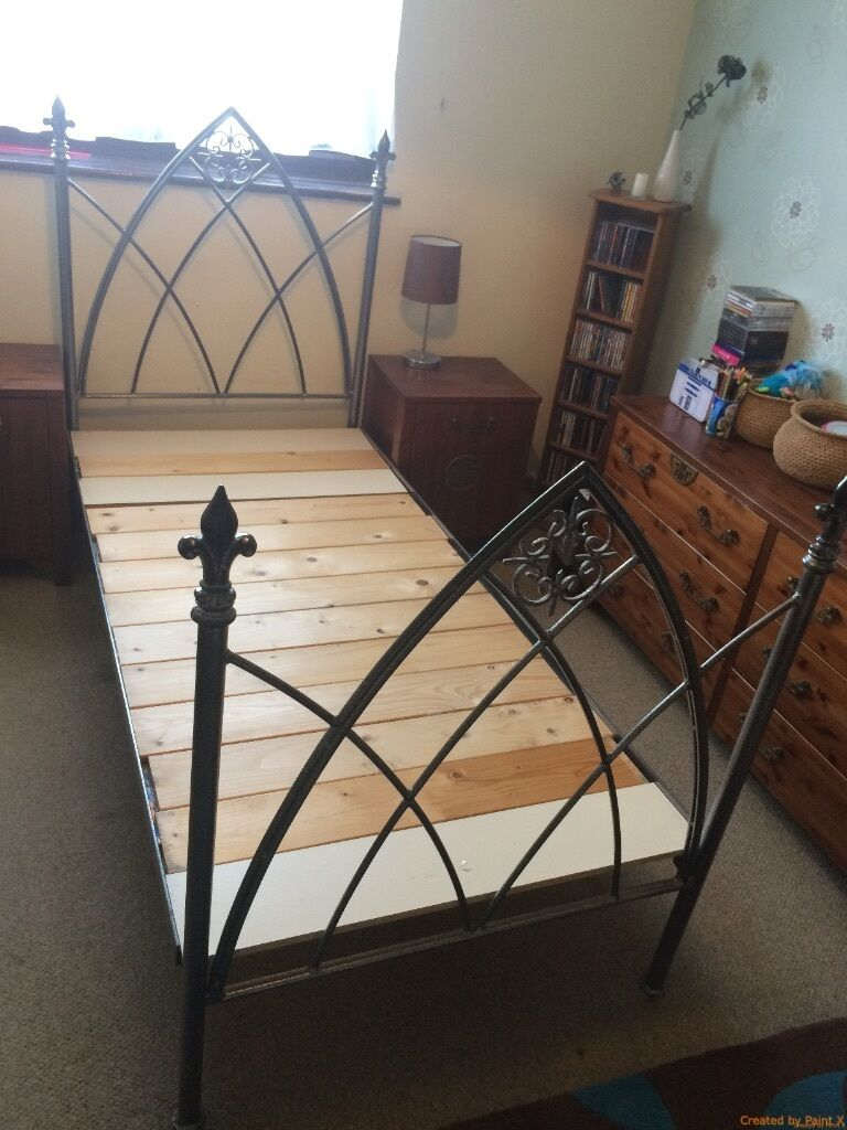 Wrought iron single bed - Gothic Style Wrought Iron Single Bed Frame Grey