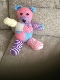 Unique and very cute, knitted patchwork teddy bear you wont see anywhere else!