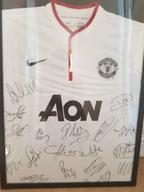 full squad man united signed shirt with cert