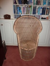 Vintage peacock cane chair