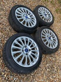 """16"""" 4x108 Ford Fiesta Alloy Wheels Alloys With Tyres Titanium Zetec S Mk 6 7 Oo1"""
