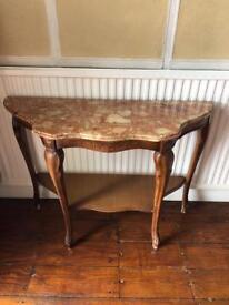 Hallway Table Marble Wood Side Dresser