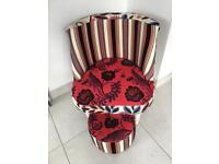 Patchwork chair and foot stool