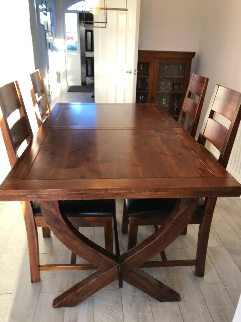 Solid Acacia Wood Extending Dining Table And 8 Chairs In