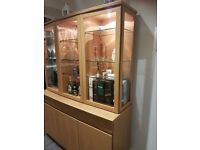 Oak Sideboard with Glass Cabinet. Excellent Condition. Can be dismantled as in 2 pieces
