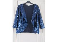 SOON - blue sequinned jacket, size 14
