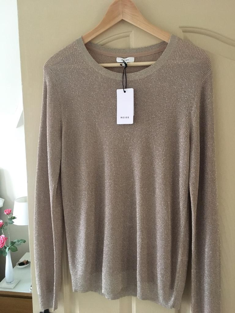 Gold REISS sparkly jumper. Size M, would fit a 14, never worn, paid £95, accept £45.