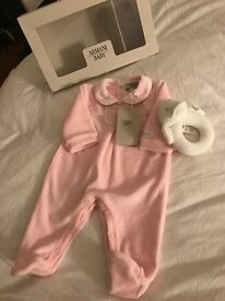 Armani Baby Romper & Rattle Brand New with box and tags