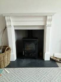 White wooden handmade Fire surround