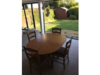 Table with 4 Chairs and Matching Sideboard. Good condition Marks and Spencer's furniture.