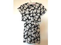 Black and white floral playsuit - size 8
