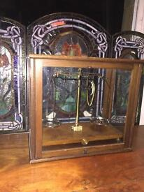Lovely Antique scales in wooden glazed cabinet