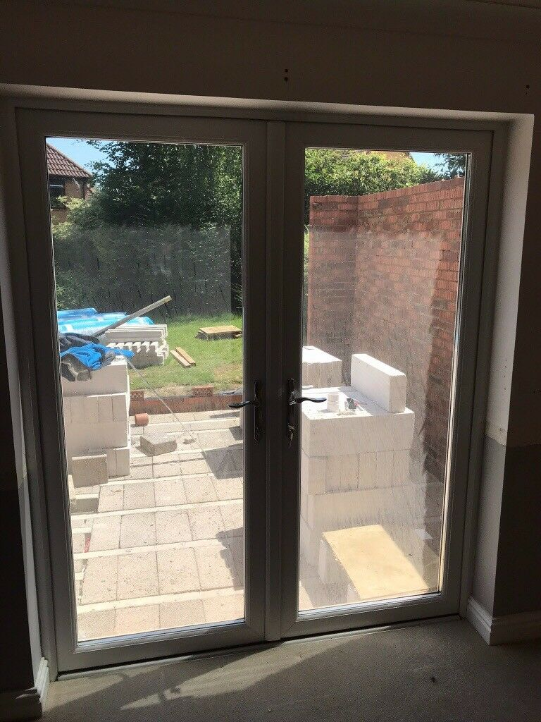 Set of double patio french doors white upvc double glazed with locks and keys