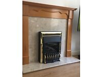 Marble / wood fire surround and gas fire