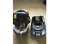 Cybex Aton car seat, Isofix base & adapters