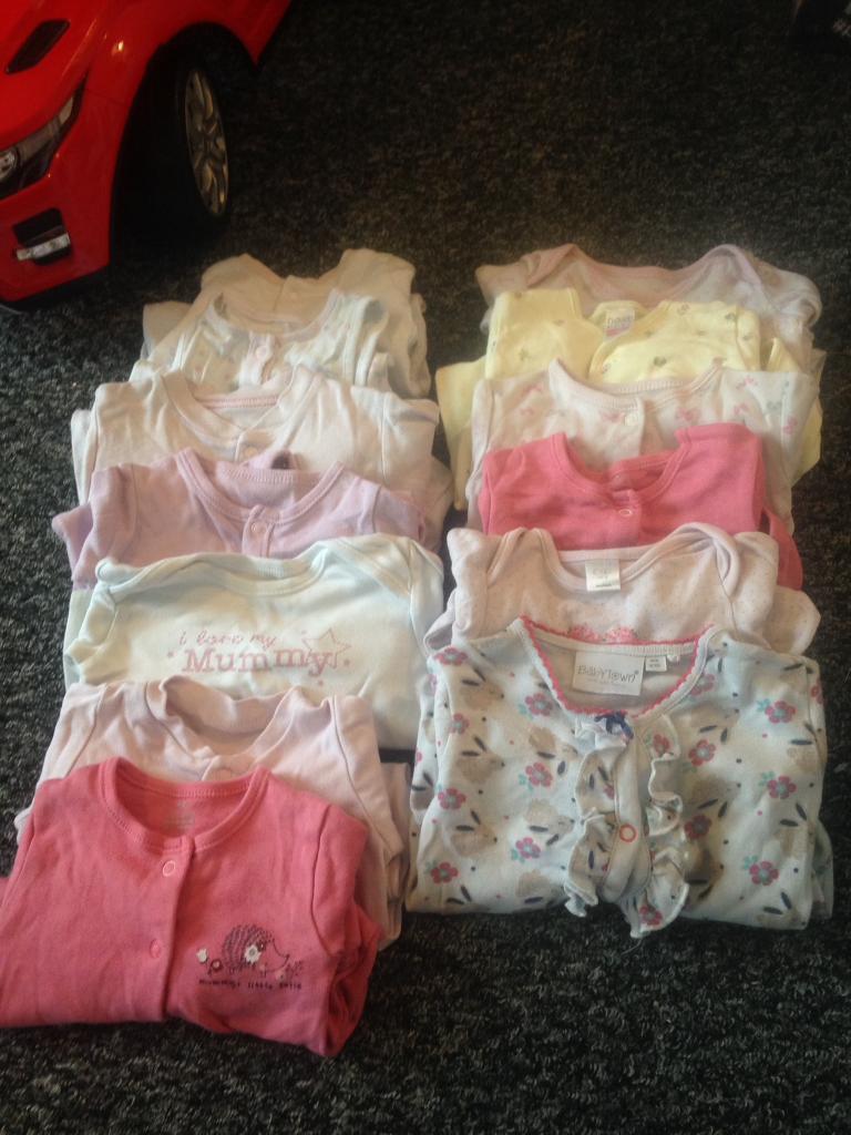 Girls newborn sleepsuit bundle