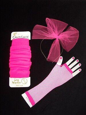 Madonna 80s, Leg warmers,fishnet gloves,hair bow, 80'S fancy dress,neon pink etc