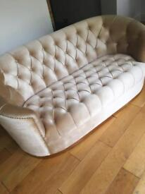 FOR SALE Two gold button 2 Seater and 3 Seater sofas