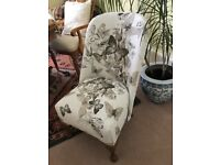Stunning small chair completely reupholstered with pink and grey butterfly fabric