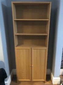 Oak effect bookcase and side table