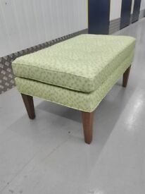 CLEARANCE Sofa com Club large rectangluar stool ottoman puffe in green geometric / free delivery