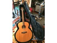 Tanglewood TRSJ jumbo acoustic guitar with hard case.