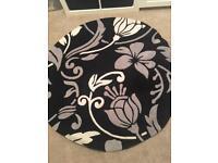 Black & white & grey Circular Rug