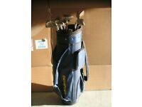 Blue Memphis Golf bag with set of clubs