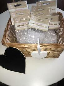 Wedding wooden basket, crystal table scatter & heart chalk board