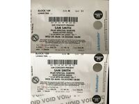 2 concert tickets for Sam Smith at Manchester Arena 28th March