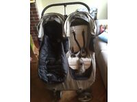 Double city mini pushchair and buggy board. Incl rain cover & 1 cosy toes