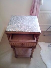 antique solid marble top bedside cabinet