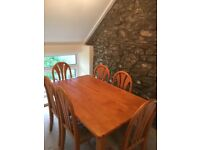 Rectangular table and chairs- seats 6- good as new