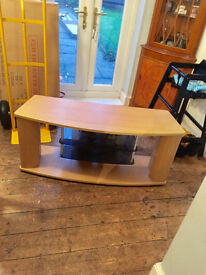 beech wood and glass tv unit stand