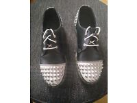 Dr Doc Martens 1460 Dai White Black Cristal Leather Shoes Size: UK 6 - EU 39