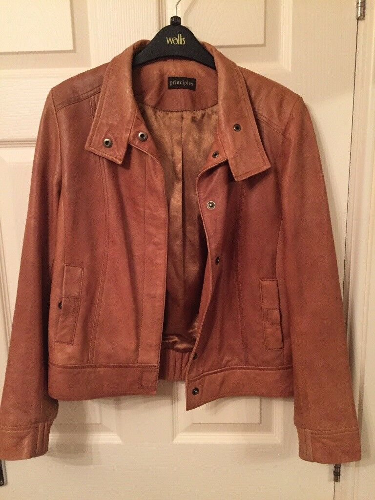 Ladies Principles Tan Leather jacket