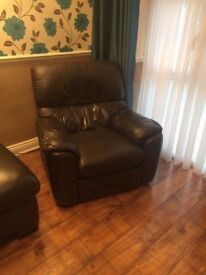 7 seater leather brown sofa and brown leather armchair - £450 ONO
