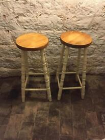 Pair of kitchen/bar stools, shabby chic/farmhouse