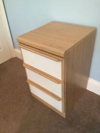 One High Quality 3 Drawer Pine Effect & White Bedside Cabinet H28in/71cmW17.5in/45cmD19in/49cm