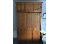 Large 3 section pine wardrobe with top box